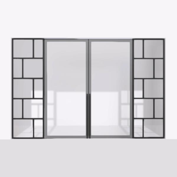 porta pivot 4245 drzwi dwuskrzydlowe z podwojna stala scianka dzialowa 4