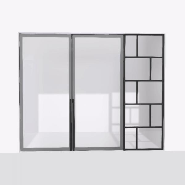 porta pivot 4245 drzwi dwuskrzydlowe z pojedyncza scianka dzialowa 4